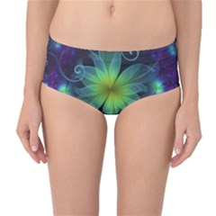 Blue And Green Fractal Flower Of A Stargazer Lily Mid Waist Bikini Bottoms by beautifulfractals
