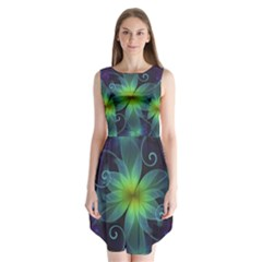 Blue And Green Fractal Flower Of A Stargazer Lily Sleeveless Chiffon Dress   by beautifulfractals