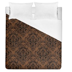 Damask1 Black Marble & Brown Wood (r) Duvet Cover (queen Size) by trendistuff