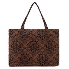 Damask1 Black Marble & Brown Wood (r) Medium Zipper Tote Bag by trendistuff