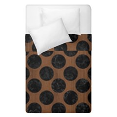 Circles2 Black Marble & Brown Wood (r) Duvet Cover Double Side (single Size) by trendistuff