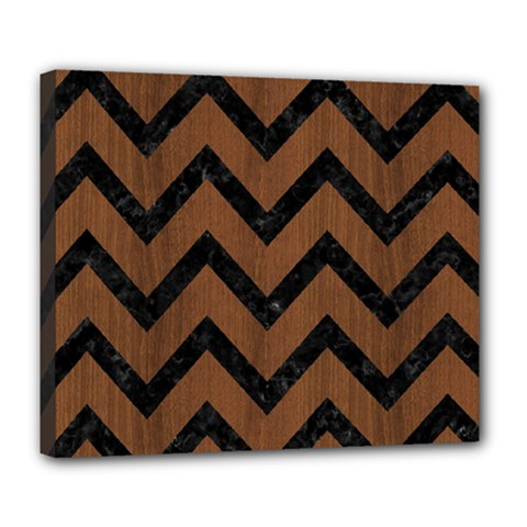 Chevron9 Black Marble & Brown Wood (r) Deluxe Canvas 24  X 20  (stretched) by trendistuff