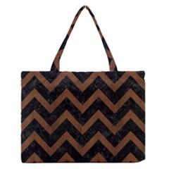 Chevron9 Black Marble & Brown Wood Medium Zipper Tote Bag by trendistuff