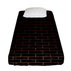 Brick1 Black Marble & Brown Wood Fitted Sheet (single Size) by trendistuff