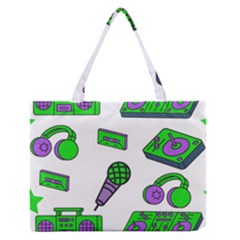 Green Music Pattern Medium Zipper Tote Bag by TheLimeGreenFlamingo