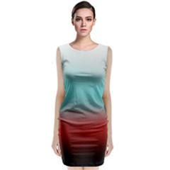 Frosted Blue And Red Classic Sleeveless Midi Dress
