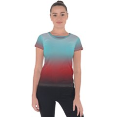 Frosted Blue And Red Short Sleeve Sports Top
