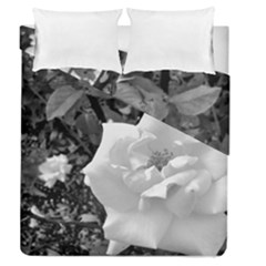 White Rose Black Back Ground Greenery ! Duvet Cover Double Side (queen Size) by CreatedByMeVictoriaB
