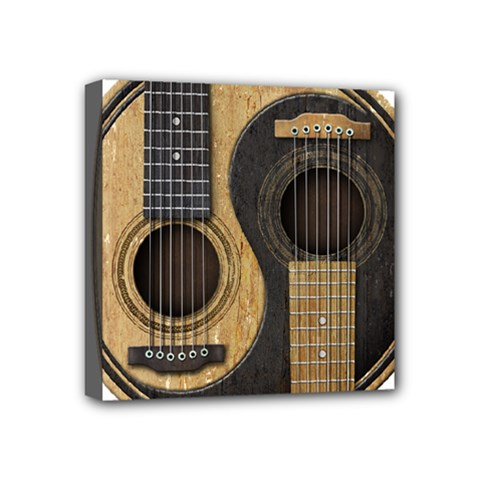 Old And Worn Acoustic Guitars Yin Yang Mini Canvas 4  X 4  by JeffBartels