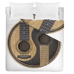 Old And Worn Acoustic Guitars Yin Yang Duvet Cover Double Side (queen Size) by JeffBartels