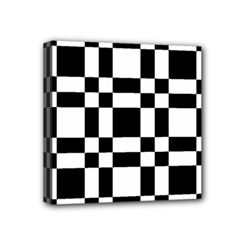 Checkerboard Black And White Mini Canvas 4  X 4  by Colorfulart23