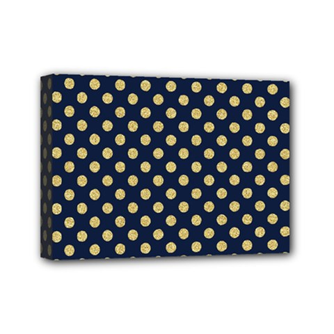 Navy/gold Polka Dots Mini Canvas 7  X 5  by Colorfulart23