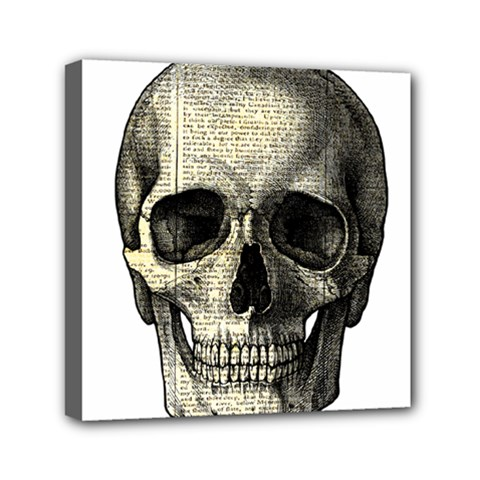Newspaper Skull Mini Canvas 6  X 6  by Valentinaart