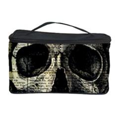Newspaper Skull Cosmetic Storage Case by Valentinaart