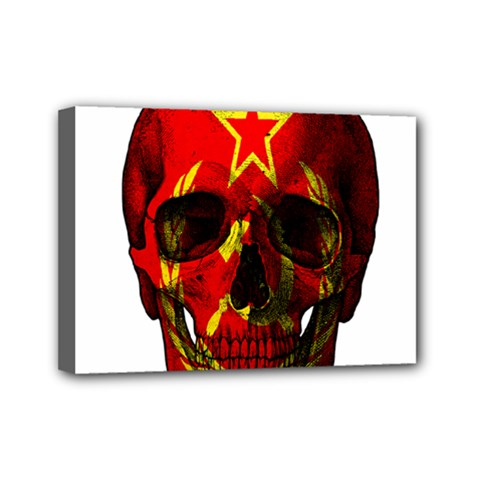 Russian Flag Skull Mini Canvas 7  X 5  by Valentinaart