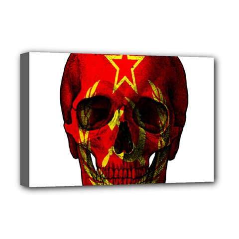 Russian Flag Skull Deluxe Canvas 18  X 12   by Valentinaart
