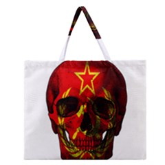 Russian Flag Skull Zipper Large Tote Bag by Valentinaart