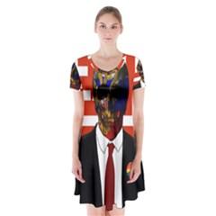 Dualism Short Sleeve V Neck Flare Dress by Valentinaart