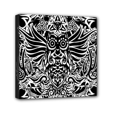 Tattoo Tribal Owl Mini Canvas 6  X 6  by Valentinaart