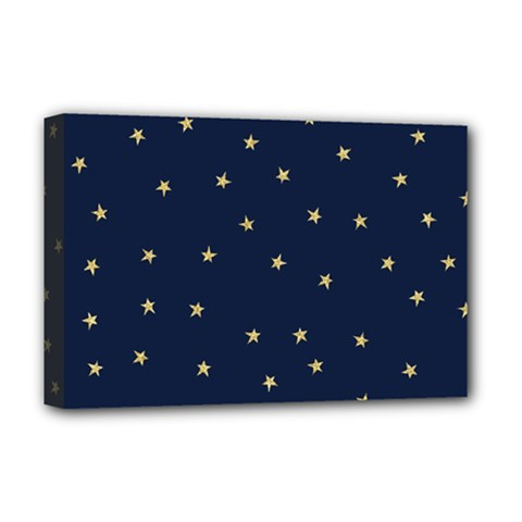 Navy/gold Stars Deluxe Canvas 18  X 12   by Colorfulart23