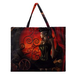 Steampunk, Wonderful Steampunk Lady In The Night Zipper Large Tote Bag by FantasyWorld7