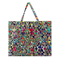 Psychedelic Background Zipper Large Tote Bag by Colorfulart23