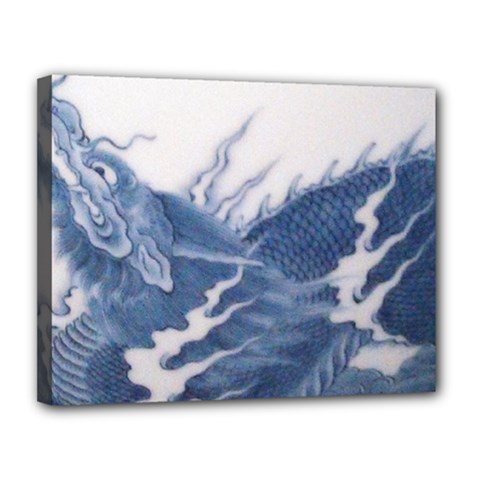 Blue Chinese Dragon Canvas 14  X 11  by paulaoliveiradesign