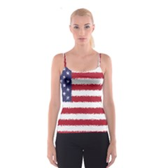 Flag Of The United States America Spaghetti Strap Top by paulaoliveiradesign