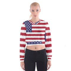 Flag Of The United States America Cropped Sweatshirt by paulaoliveiradesign