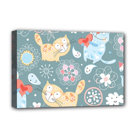 Cute Cat Background Pattern Deluxe Canvas 18  X 12   by BangZart