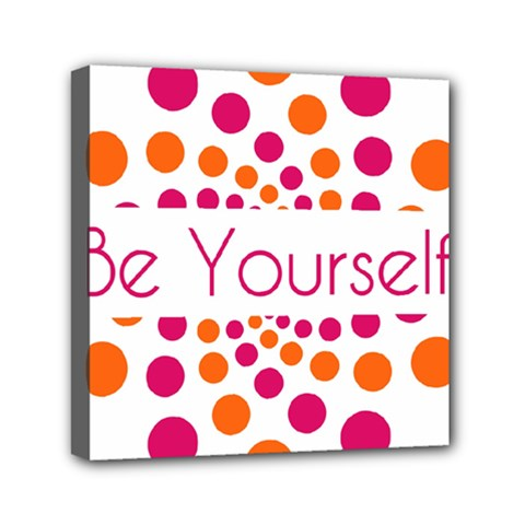 Be Yourself Pink Orange Dots Circular Mini Canvas 6  X 6  by BangZart