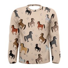 Horses For Courses Pattern Men s Long Sleeve Tee