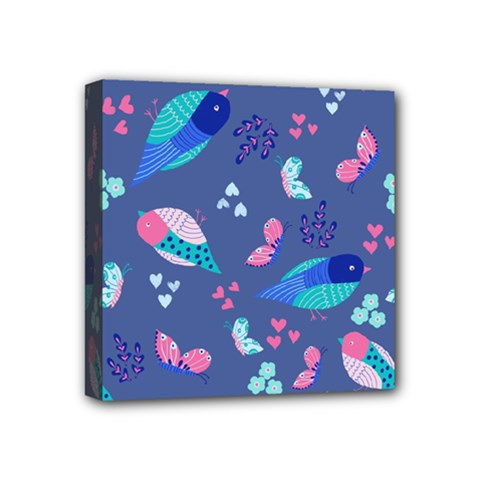 Birds And Butterflies Mini Canvas 4  X 4  by BangZart