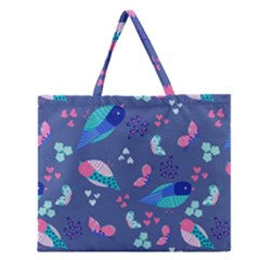 Birds And Butterflies Zipper Large Tote Bag by BangZart