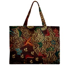 Art Traditional Flower  Batik Pattern Zipper Mini Tote Bag by BangZart