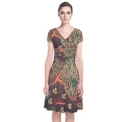 Art Traditional Flower  Batik Pattern Short Sleeve Front Wrap Dress by BangZart