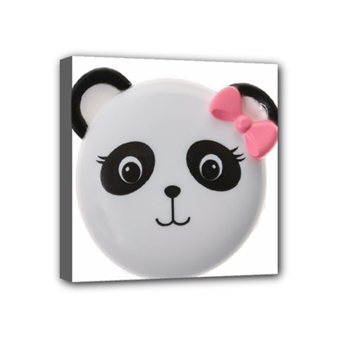 Pretty Cute Panda Mini Canvas 4  X 4  by BangZart