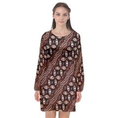 Art Traditional Batik Pattern Long Sleeve Chiffon Shift Dress  by BangZart