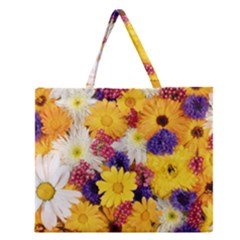 Colorful Flowers Pattern Zipper Large Tote Bag by BangZart