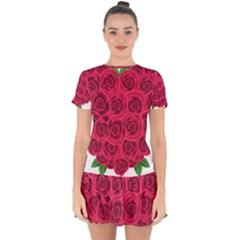 Floral Heart Drop Hem Mini Chiffon Dress