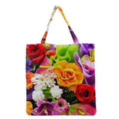 Colorful Flowers Grocery Tote Bag by BangZart