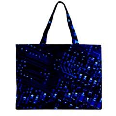 Blue Circuit Technology Image Zipper Mini Tote Bag by BangZart