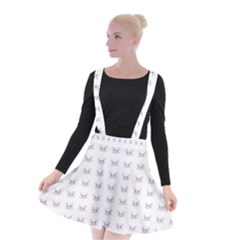 Pink Cute Cat Pattern Suspender Skater Skirt by paulaoliveiradesign