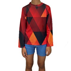 Abstract Triangle Wallpaper Kids  Long Sleeve Swimwear by BangZart