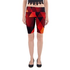 Abstract Triangle Wallpaper Yoga Cropped Leggings by BangZart