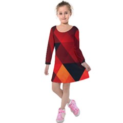 Abstract Triangle Wallpaper Kids  Long Sleeve Velvet Dress by BangZart