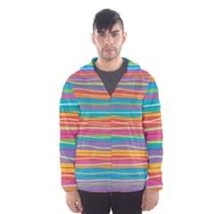 Colorful Horizontal Lines Background Hooded Wind Breaker (men) by TastefulDesigns