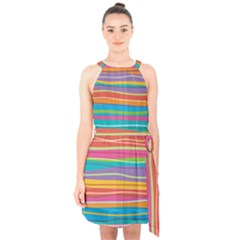 Colorful Horizontal Lines Background Halter Collar Waist Tie Chiffon Dress