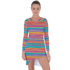 Colorful Horizontal Lines Background Asymmetric Cut Out Shift Dress
