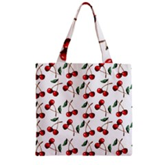 Cherry Red Zipper Grocery Tote Bag by Kathrinlegg